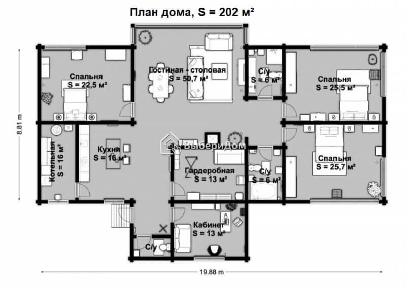 Современный загородный дом из клеёного бруса в д.Песочнево